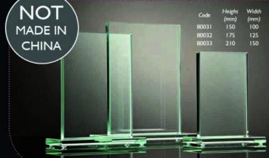 Glasplatte stehend